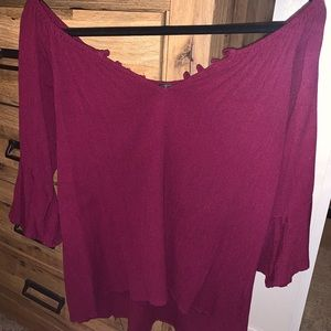 Off the Shoulder Blouse (Maroon)